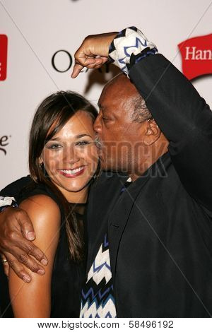 HOLLYWOOD - AUGUST 27: Rashida Jones and Quincy Jones at the TV Guide Emmy After Party at Social August 27, 2006 in Hollywood, CA.