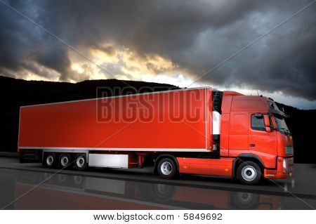 Red Semi Truck On Road