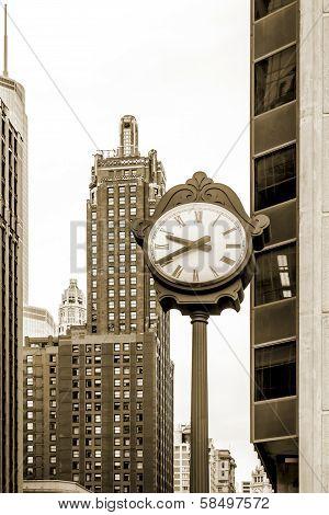Architecture of Chicago, street clock, loop community area, sepia