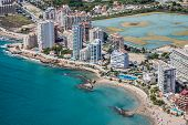 Coastline of Mediterranean Resort Calpe Spain with Sea and Lake poster