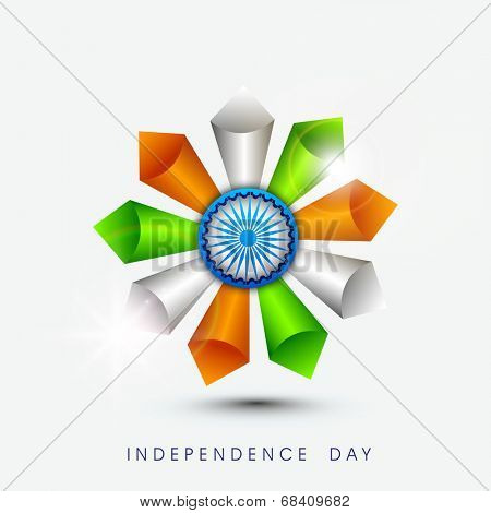 Beautiful flower design made by cone in national flag colors with ashoka wheel on blue background for Independence Day celebrations.  poster