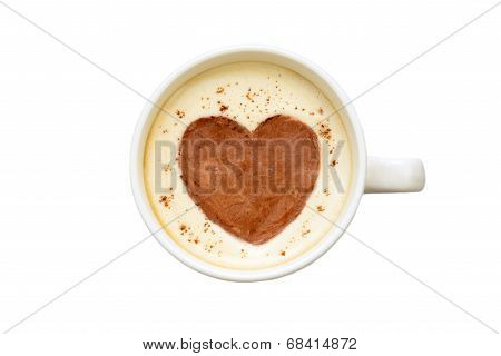 latte art - isolated cup of coffee with a heart