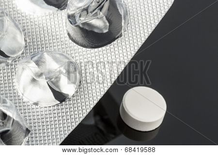 tablets in blister pack, icon photo for health, medicine and pill addiction