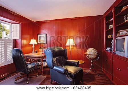 Bright Red Office Room Inteiror In Old House