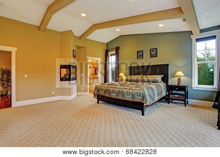 Spacious master bedroom with high coffered ceiling beige carpet floor and fireplace built in the wall