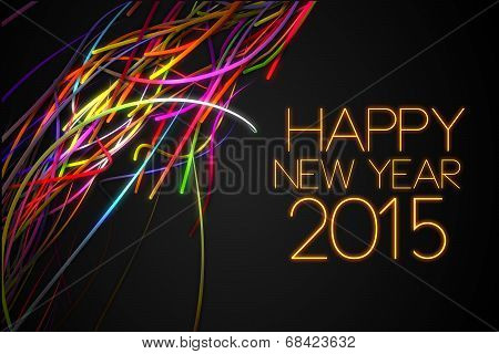 2015 Happy New Year Strands Line Glow Dark Background poster