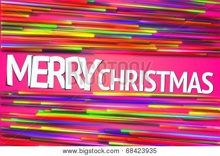 Merry Christmas Rainbow straight Line Glow Pink Background