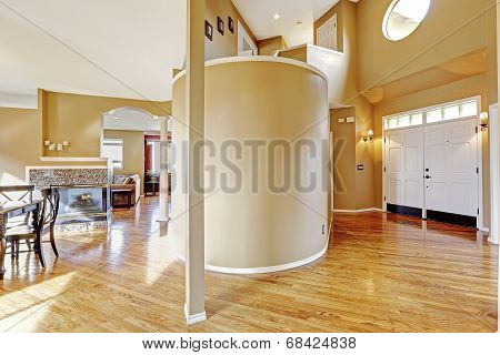 House Interior. View Of Entrance Hallway And Living Room