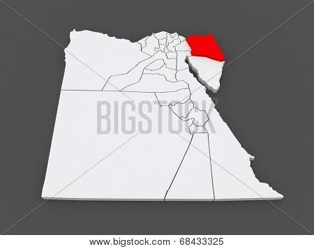 Map of North Sinai (Shimalov Sina). Egypt. 3d