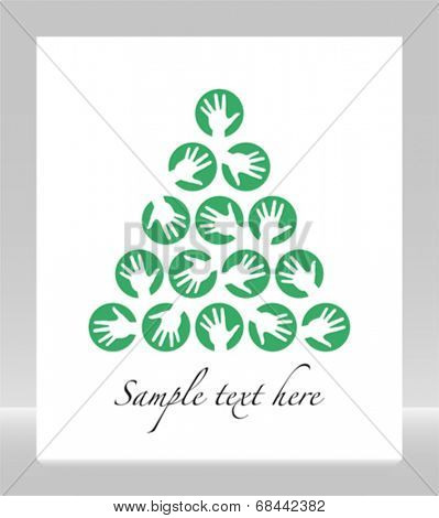 Christmas hand tree celebration design with space for your text.
