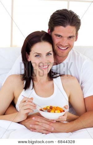 Loving Couple Having Breakfast