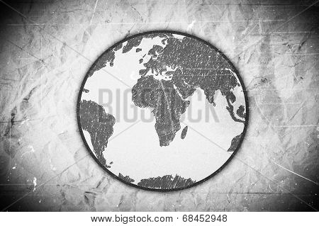 Globe earth icons themes idea design on crumpled paper poster