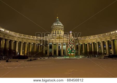 Christmas Tree And Kazanskiy Cathedral In St. Petersburg