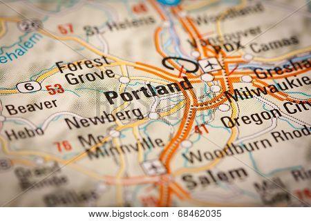 Portland City On A Road Map