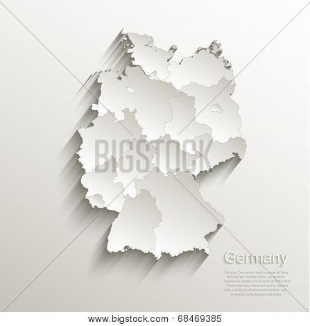 Germany political map card paper 3D natural vector individual states separate poster