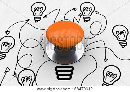 The word start and orange push button against idea and innovation graphic
