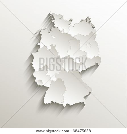 Germany political map card paper 3D natural raster individual states separate poster