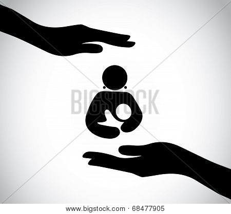 Hand Silhouette Protecting Happy Mother And Child holding with care