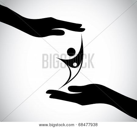 Hand Silhouette Protecting Happy Mother And Child Baby Celebrating & Jumping With Joy