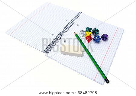 Set Of Exercise Book, Pencil, Rubber And Dices Isolated On White Background