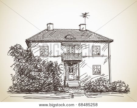 Two floor house facade, Vector sketch, Hand drawn illustration