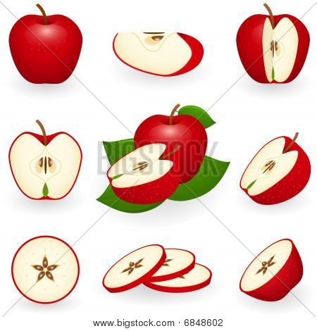 Icon Set Red Apple