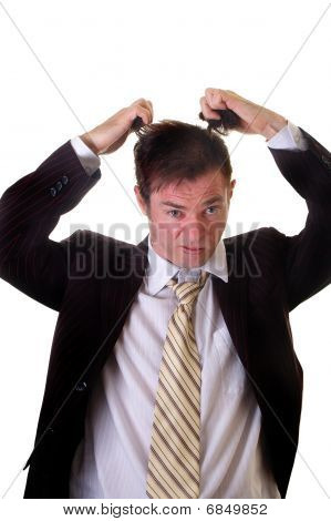 Businees Man Pulling Out Hair