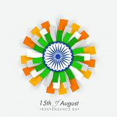 Beautiful flower design in Indian national flag colors with ashoka wheel on blue background  for 15th of August, Independence Day celebrations. poster
