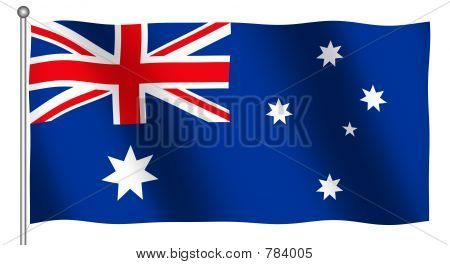 Flag of Australia Waving