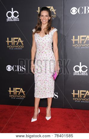 LOS ANGELES - NOV 14:  Hilary Swank arrives to the The Hollywood Film Awards 2014 on November 14, 2014 in Hollywood, CA