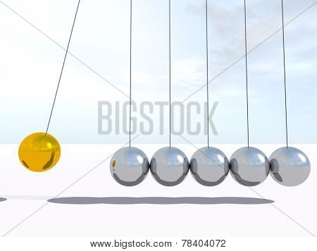 Concept or conceptual 3D metal silver and gold creative spere Newton cradle pendulum over a sky background
