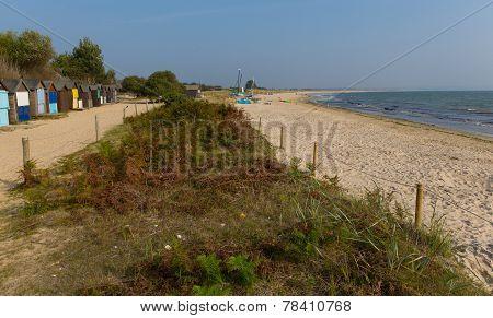 Beach huts and Studland knoll beach Dorset England UK