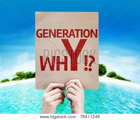 Generation whY !? card with a beach on background