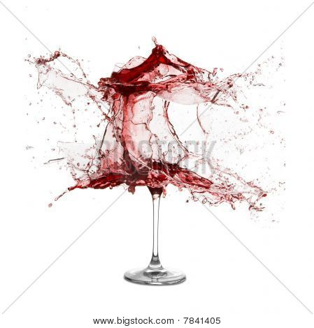 Explosion Of A Glass With Red Wine