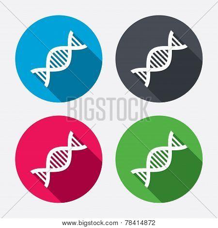 DNA sign icon. Deoxyribonucleic acid symbol.