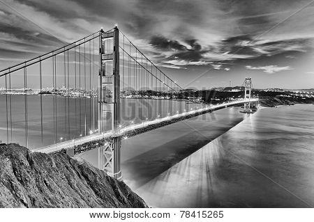 Golden Gate Bridge In San Fracisco City Black And White