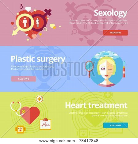 Set of flat design concepts for sexology, plastic surgery, heart treatment. Medical concepts for web