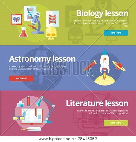 Set of flat design concepts for biology, astronomy, literature lessons. EducationConcepts for web ba