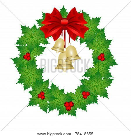 Greting Card. Christmas Wreath. Vector