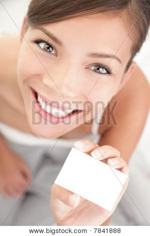 Cute Woman Holding Business Card