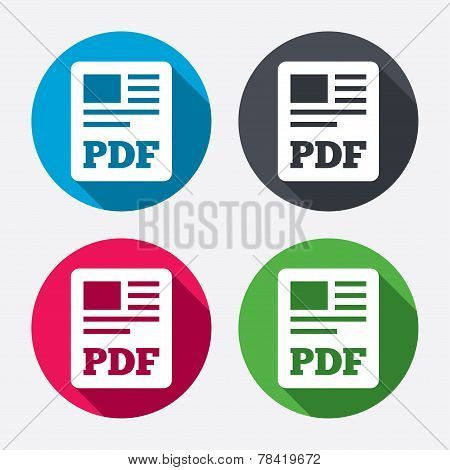 PDF file document icon. Download pdf button. PDF file symbol. Circle buttons with long shadow. 4 icons set. Vector poster