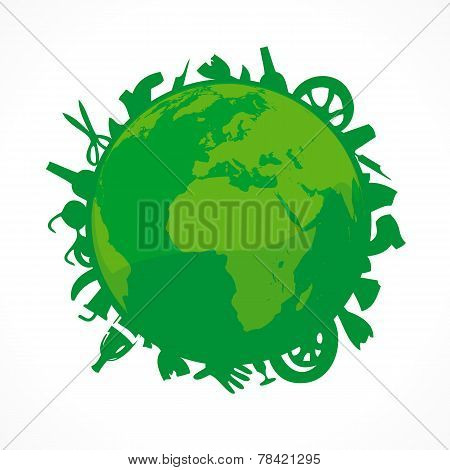 Bionomics of earth vector logo. Environmental sign. Vector organic green world icon. Ecology problem pollution. Natural green globe symbol with a lot of trash. Waste product.