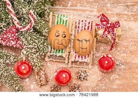 funny eggs, Christmas, mandarin, gift and candles