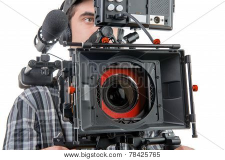 a cameraman with DSLR camera on the white background poster
