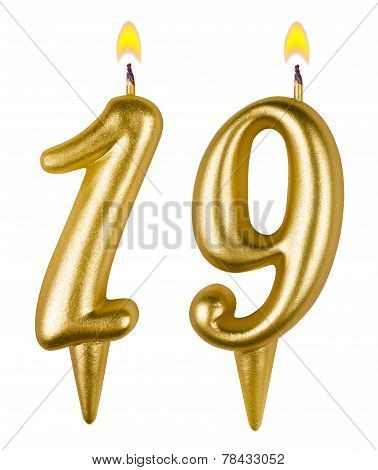 Birthday Candles Number Nineteen Isolated