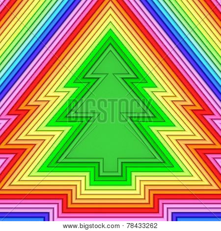 Christmas Tree Shape Composed Of Colorful Metallic Pipes