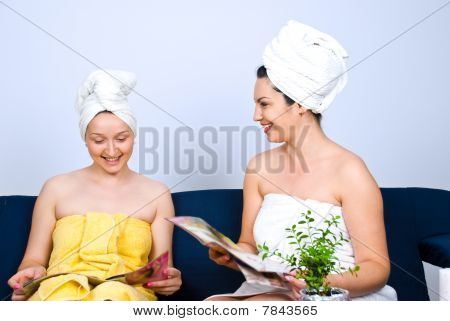 Woman Friends Having Fun At Daily Spa
