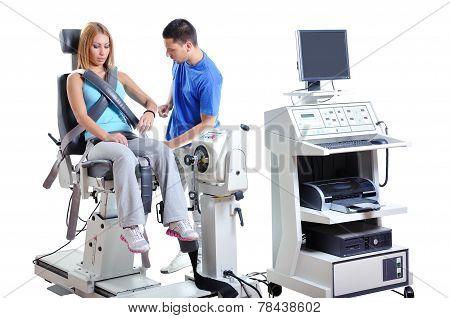 Sports Scientist doing Performance Assessment. Modern Technology. poster