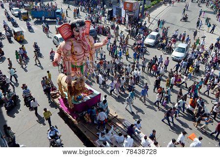 Hindu devotees transport Ganesha Idols for traditional immersion in water ganesh chathurthi festival