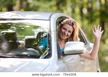 Caucasian Lady With New Car